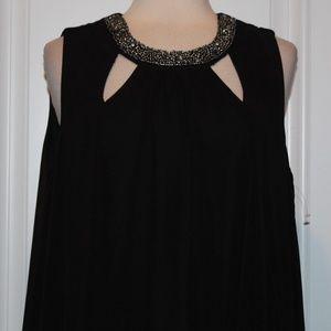 SLNY Black Chiffon Cut-Out Beaded Neck Dress 18W
